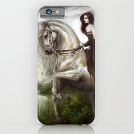 Royal redhead girl riding a white horse iPhone Case