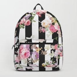 Bold pink watercolor roses floral black white stripes Backpack