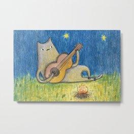 Campfire Cat Metal Print