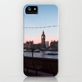 Big Ben, Westminster Bridge, Southbank at sunrise iPhone Case