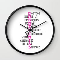 darren criss Wall Clocks featuring Darren Criss by Jessie Bouyea