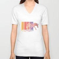 zebra V-neck T-shirts featuring zebra  by mark ashkenazi