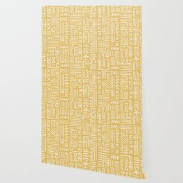 Mudcloth in yellow ochre Wallpaper