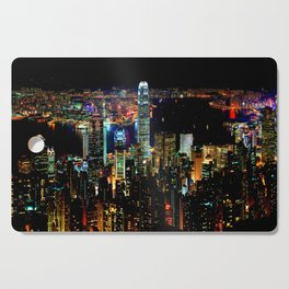Hong Kong City Skyine Black Night Cutting Board