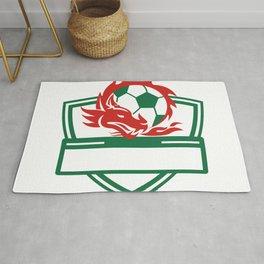 Red Dragon Soccer Ball Crest Rug