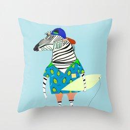 surfer zebra Throw Pillow