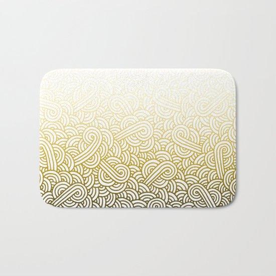 Gradient yellow and white swirls doodles Bath Mat