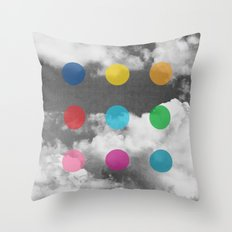 Storm Clouds + Colored Dots Throw Pillow