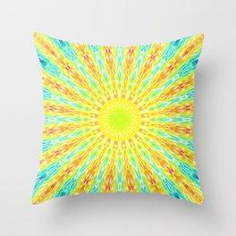Golden Sunburst Colorful Rays Throw Pillow
