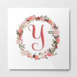 Personal monogram letter 'Y' flower wreath Metal Print