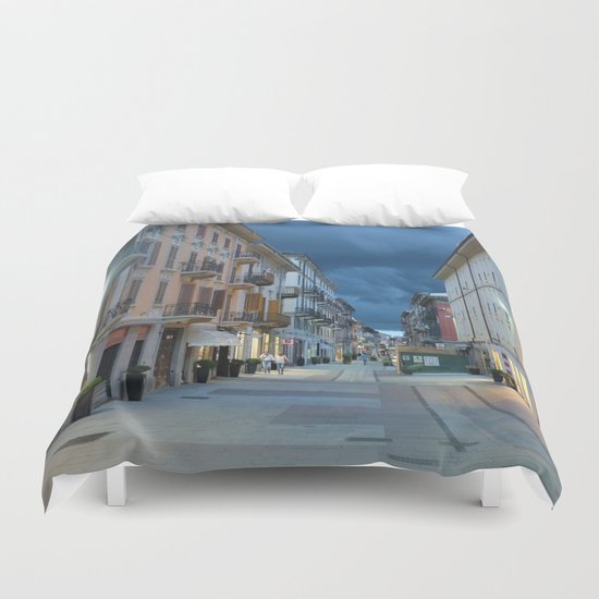 A stormy night in Alessandria, Italy Duvet Cover