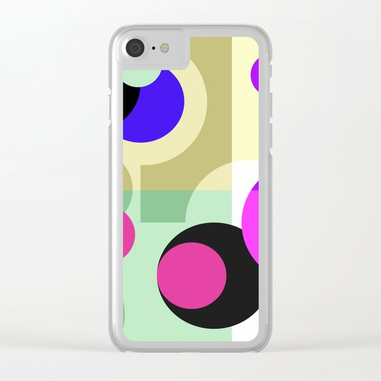 Colorful geometric pattern with polka dots . Clear iPhone Case