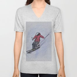 Snow Ski Fun Unisex V-Neck