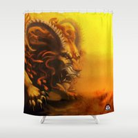 fierce Shower Curtains featuring Fierce by Armored Collective