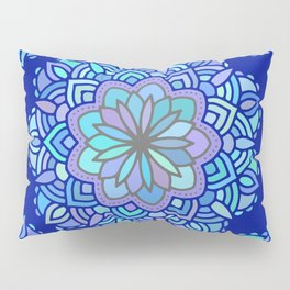 Heart mandala Pattern on Dark Blue Background Pillow Sham