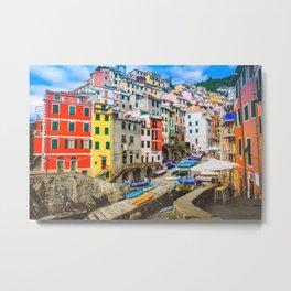 Colorful Riomaggiore Cinque Terre Italy Metal Print