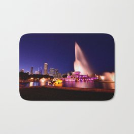 Chicago skyline and Buckingham Fountain at night. Bath Mat