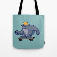 bigfoot Tote Bags featuring Bigfoot Rollin' by BoilerRoom Studios
