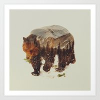 andreas preis Art Prints featuring Wild Grizzly Bear by Andreas Lie