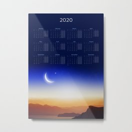 Calendar 2020 with Moon #1 Metal Print