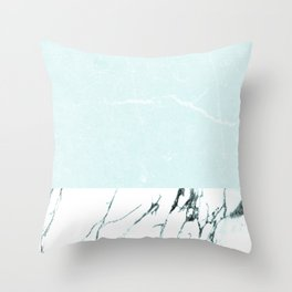 Marble & concrete - soft aqua Throw Pillow