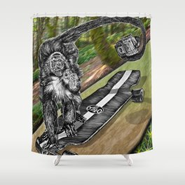 Simian Skateboard Selfie Shower Curtain