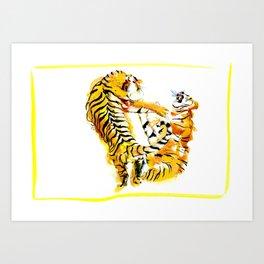 Tiger Fight Art Print