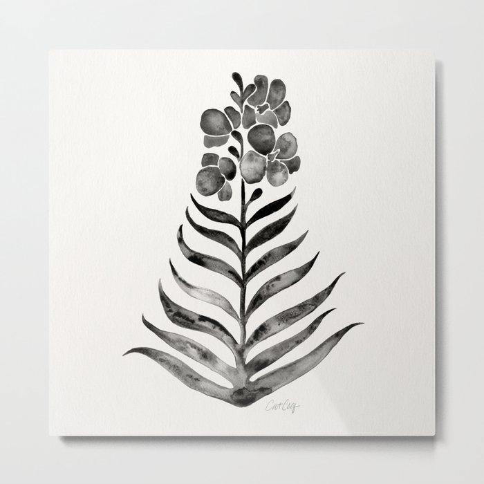 Blooming Black Orchid Metal Print