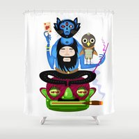the thing Shower Curtains featuring Thing by Matej