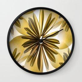 Origami Flowers Golden Tones #decor #society6 #buyart Wall Clock