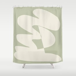 Minimalist Modern Abstract Expressionism in Sage Shower Curtain