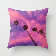 Pink & Purple Palm Trees Throw Pillow