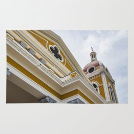 Looking up at the Exterior of the Yellow Granada Cathedral in Downtown Granada, Nicaragua Rug