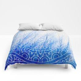 Mandala Feather Blue Comforters