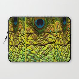 GREEN-YELLOW PEACOCK FEATHERS ART DESIGN Laptop Sleeve