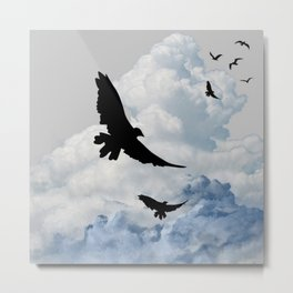 BLACK CROWS IN CLOUDY SKIES ART Metal Print