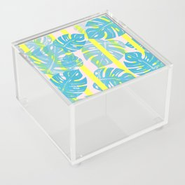 Linocut Monstera Neon Acrylic Box