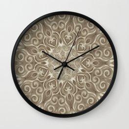 Beige swirl mandala Wall Clock