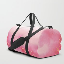 Geometric Clouds In Pink Duffle Bag