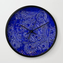 N20 - Tribal Cute Cat Hand Drawing, Traditonal Moroccan Carpet Background Wall Clock
