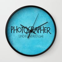 photographer Wall Clocks featuring Photographer by Indie Kindred