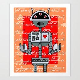 Nerdy Robot Print with math formulas in background Art Print