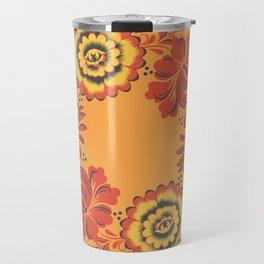 Orange Khokhloma Travel Mug