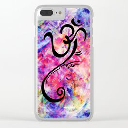 Tie Dye Color Chaos with Om Symbol making Ganesha Clear iPhone Case