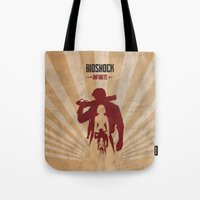 bioshock infinite Tote Bags featuring Bioshock Infinite - Booker and Elizabeth by Art of Peach
