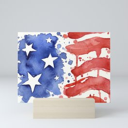 American Flag Watercolor Abstract Stars and Stripes Mini Art Print