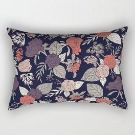 Purple, Gray, Navy Blue & Coral Floral/Botanical Pattern Rectangular Pillow
