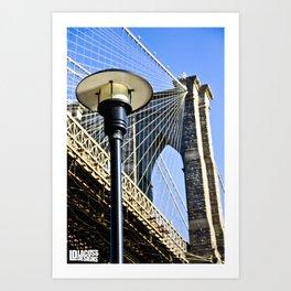 Lamp Under Brooklyn Bridge Art Print
