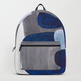 Mid Century Modern Minimalist Colorful Pop Art Grey Navy Blue Neon Pink Color Blobs Ovals Backpack