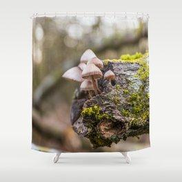 Mushrooms on tree Shower Curtain